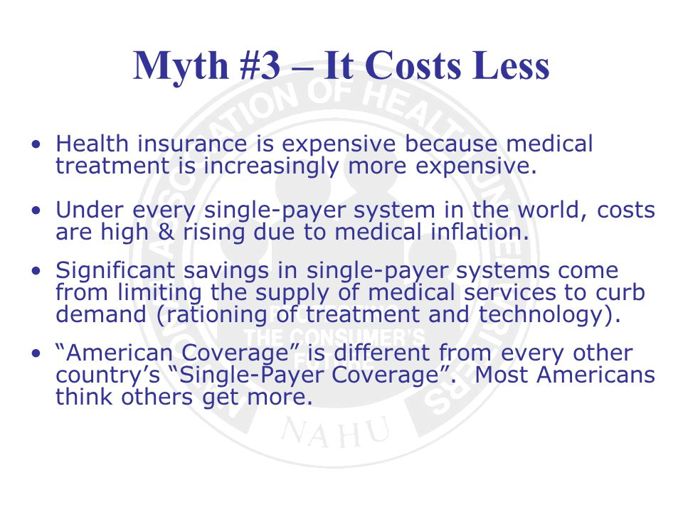 Myth #3 – It Costs Less Health insurance is expensive because medical treatment is increasingly more expensive.