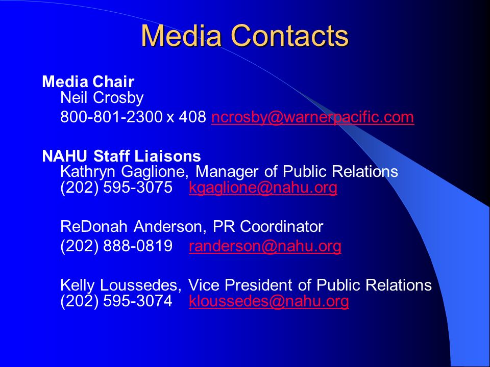 Media Contacts Media Chair Neil Crosby