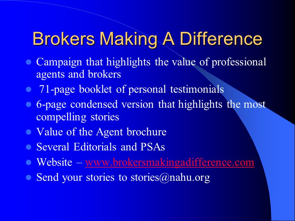 Brokers Making A Difference
