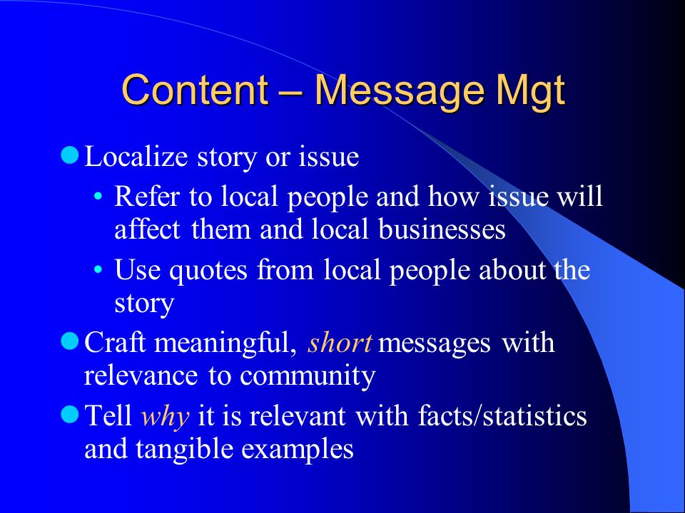 Content – Message Mgt Localize story or issue