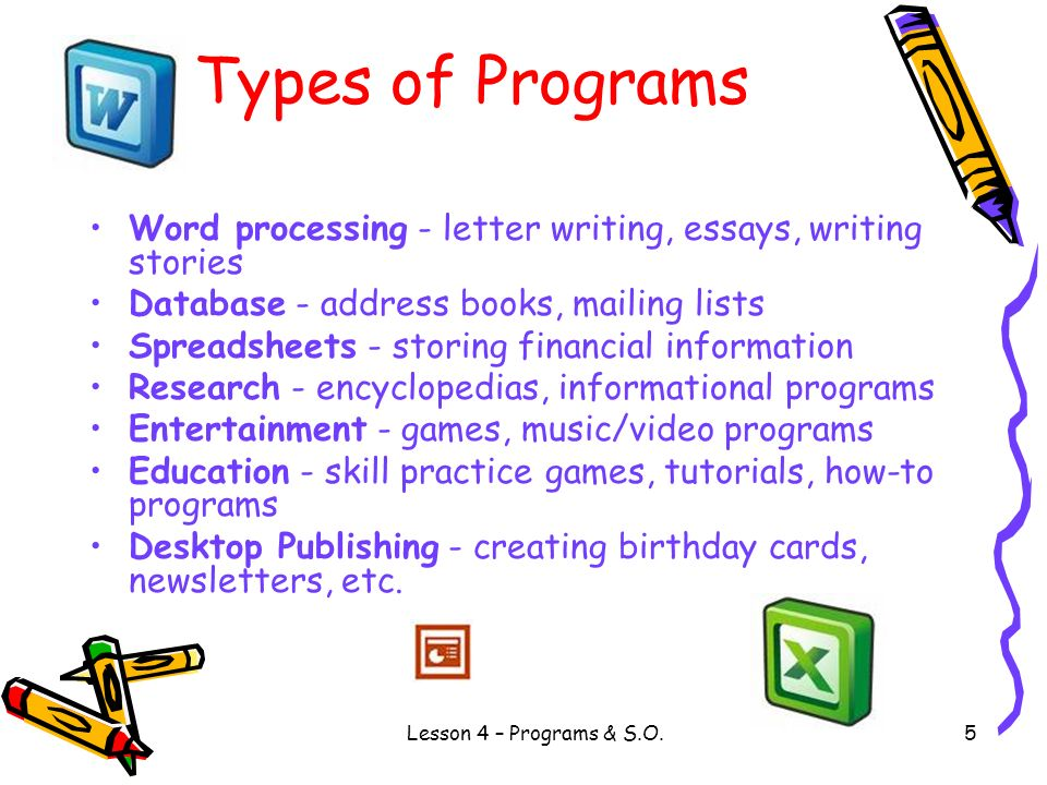 Types of Programs Word processing - letter writing, essays, writing stories. Database - address books, mailing lists.