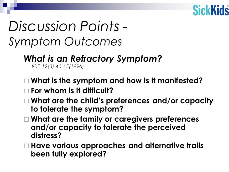 Discussion Points - Symptom Outcomes