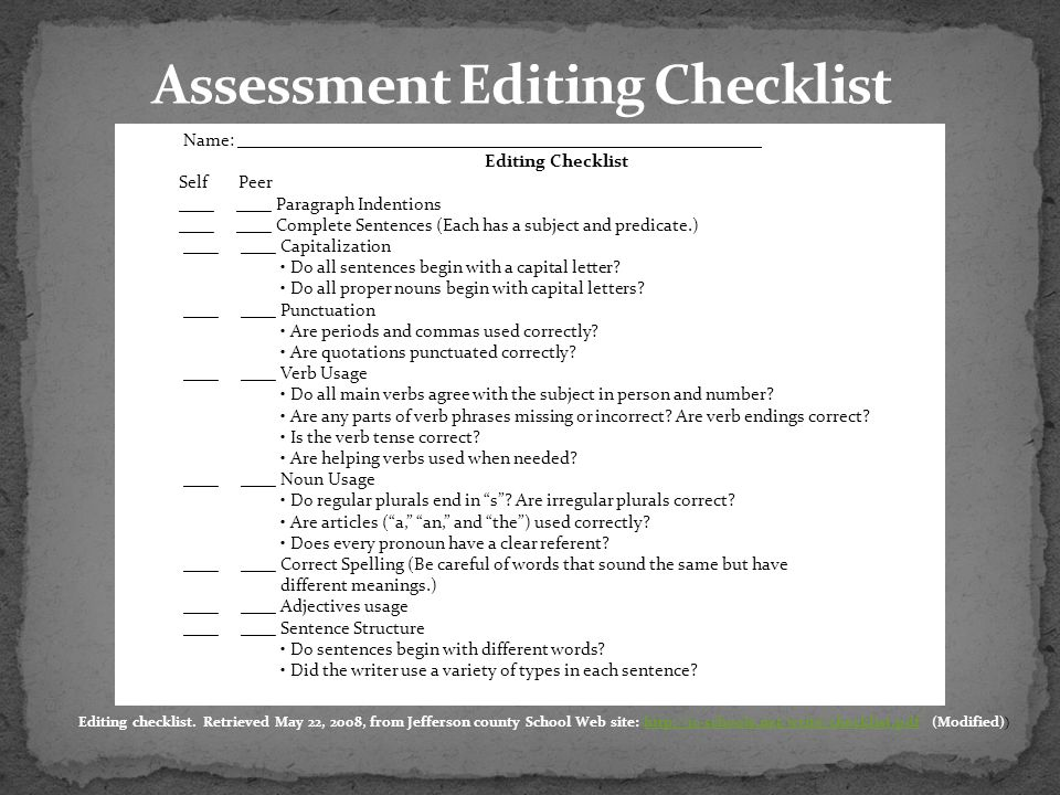 Assessment Editing Checklist
