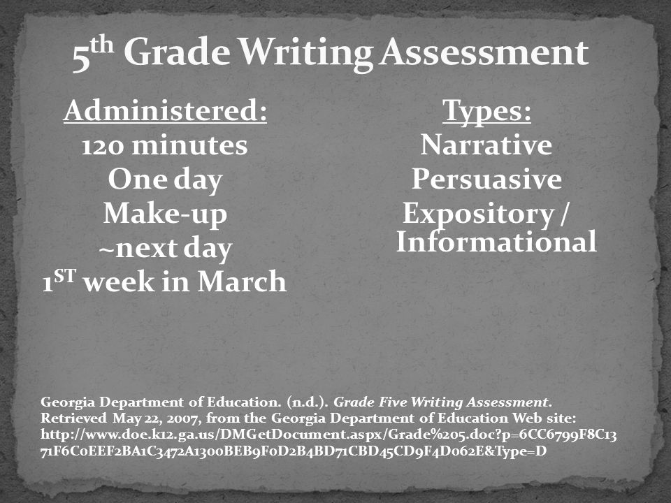 5th Grade Writing Assessment