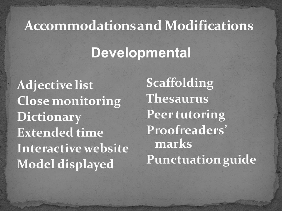Accommodations and Modifications