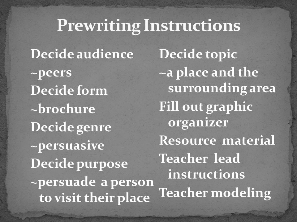 Prewriting Instructions