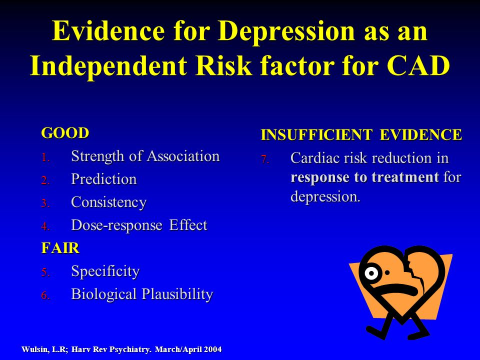 Evidence for Depression as an Independent Risk factor for CAD