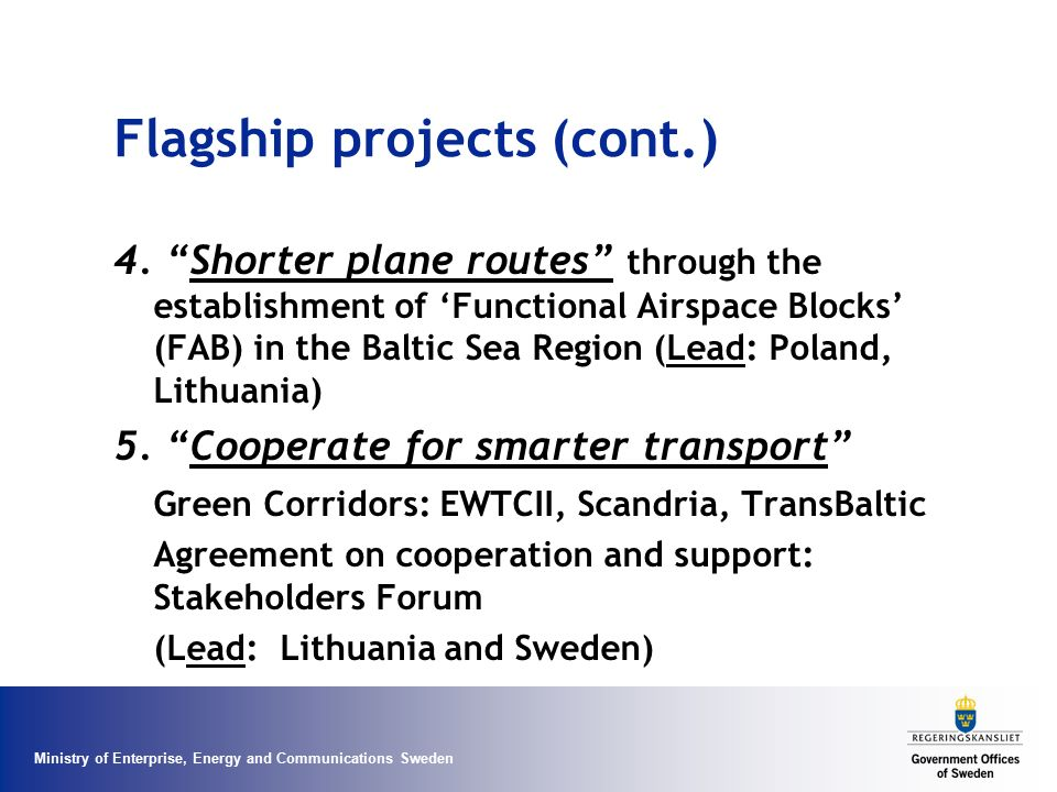 Flagship projects (cont.)