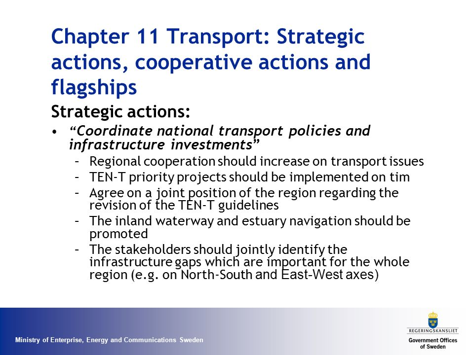 Chapter 11 Transport: Strategic actions, cooperative actions and flagships