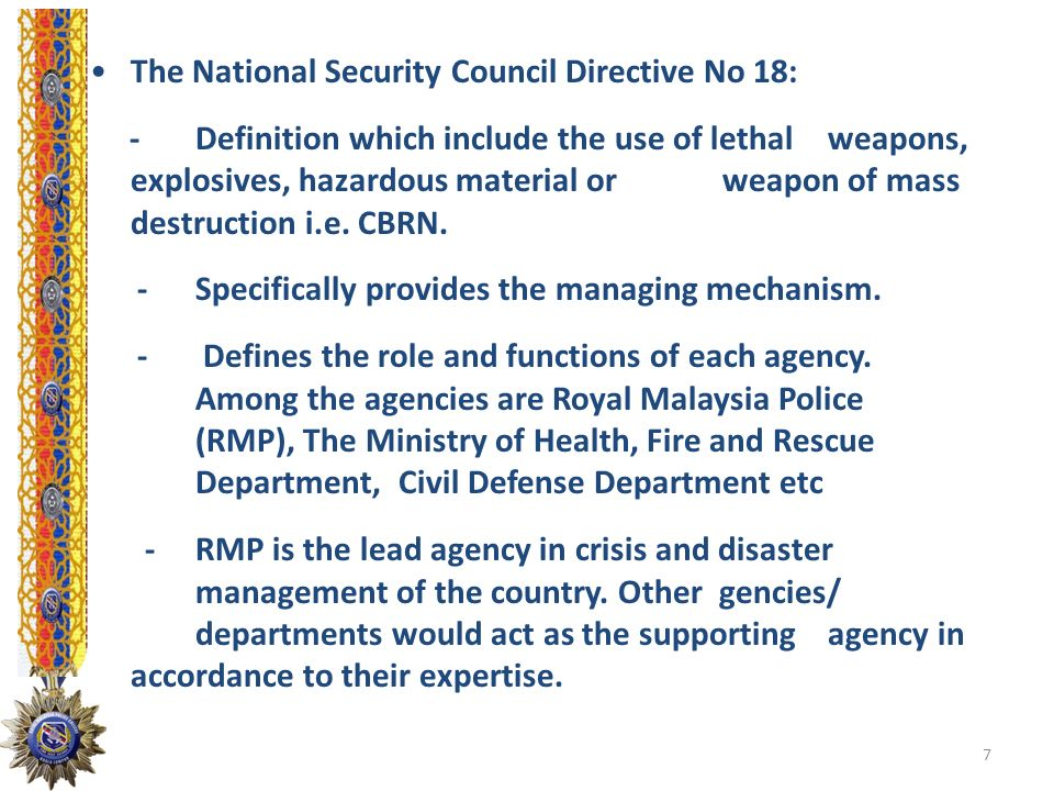 The National Security Council Directive No 18: