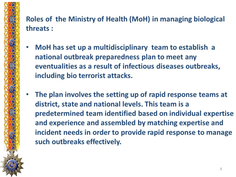 Roles of the Ministry of Health (MoH) in managing biological