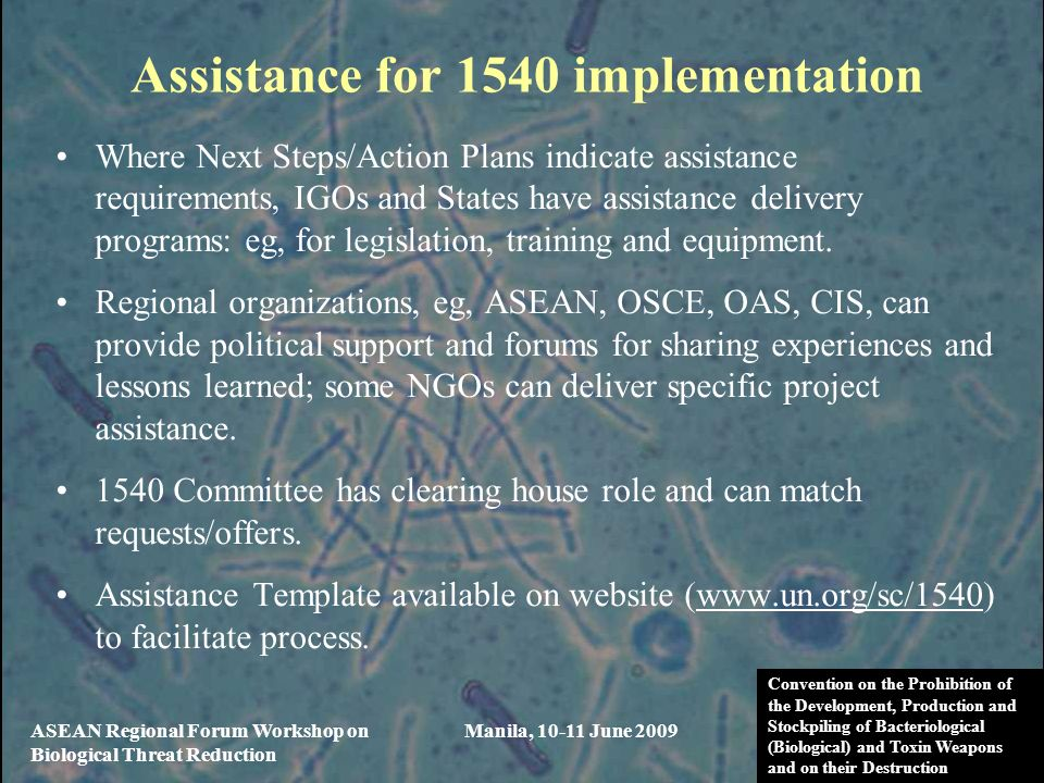 Assistance for 1540 implementation