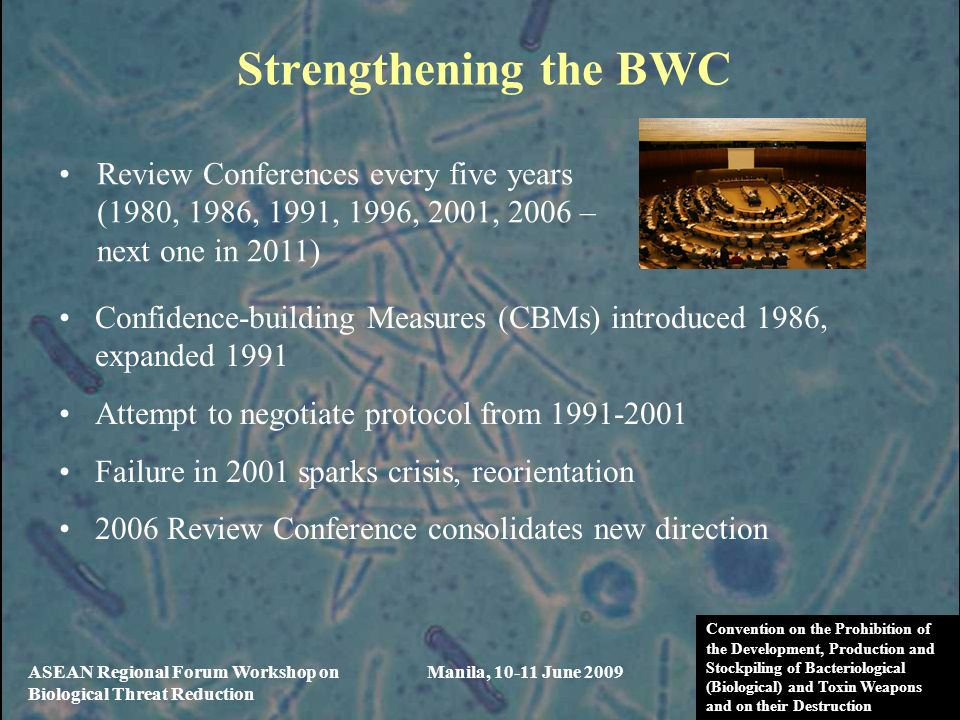 Strengthening the BWC Review Conferences every five years (1980, 1986, 1991, 1996, 2001, 2006 – next one in 2011)