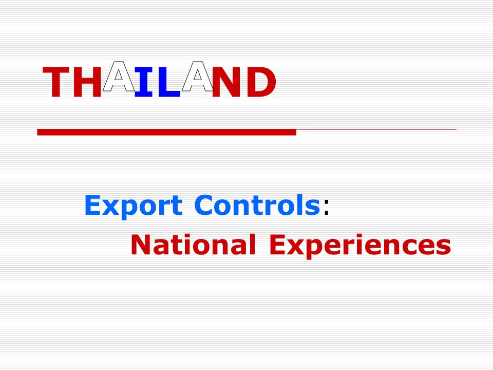 Export Controls: National Experiences