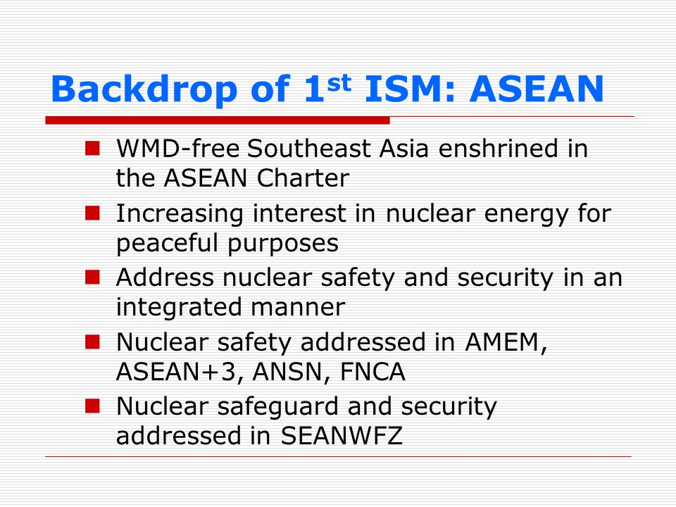 Backdrop of 1st ISM: ASEAN