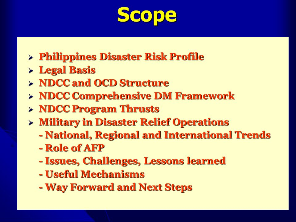 Scope Philippines Disaster Risk Profile Legal Basis