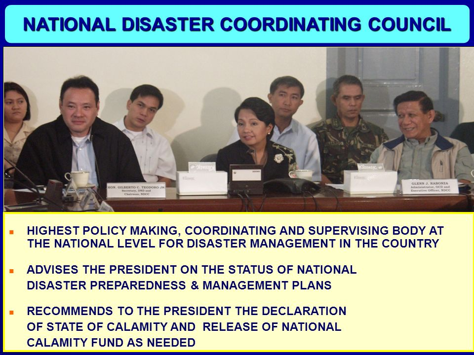 NATIONAL DISASTER COORDINATING COUNCIL
