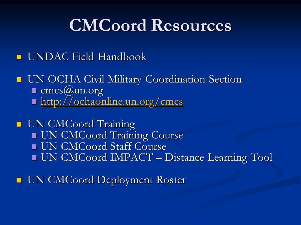 CMCoord Resources UNDAC Field Handbook