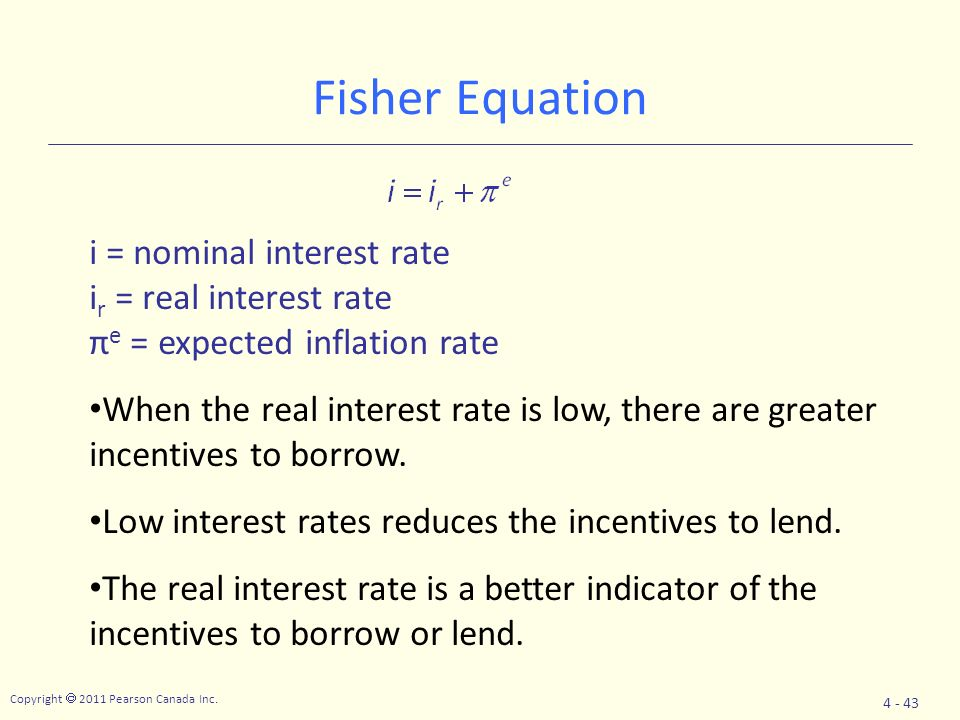 Fisher Equation i = nominal interest rate ir = real interest rate
