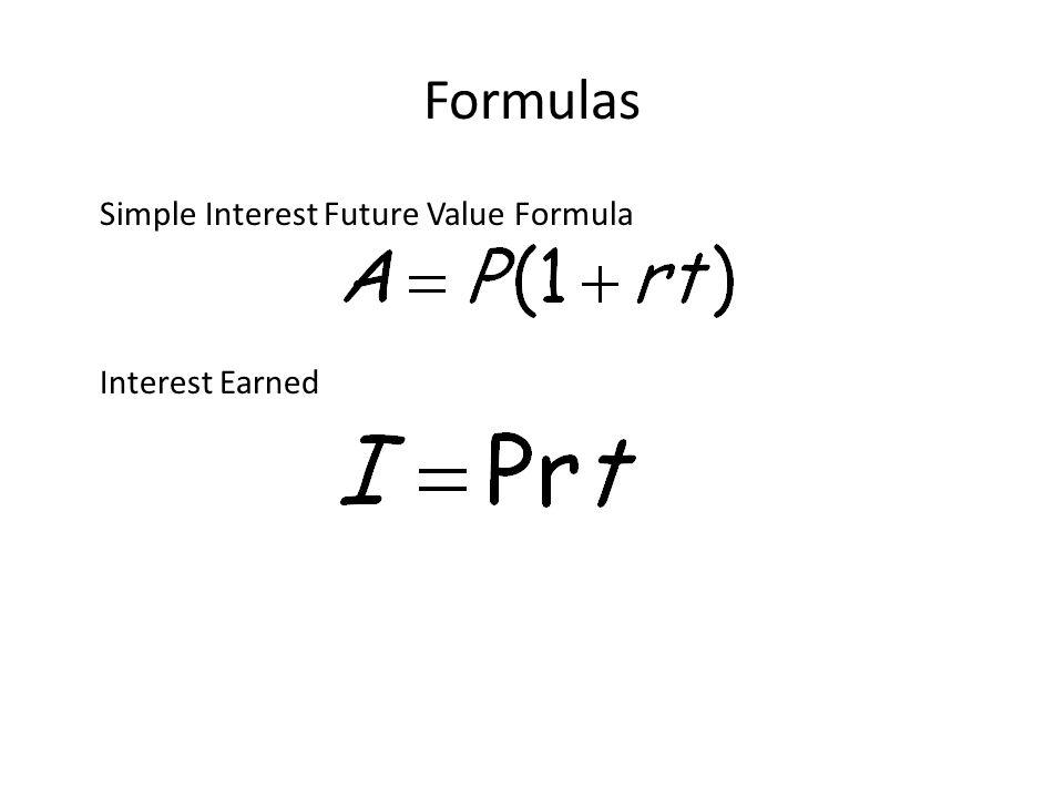 2 formulas simple interest future value