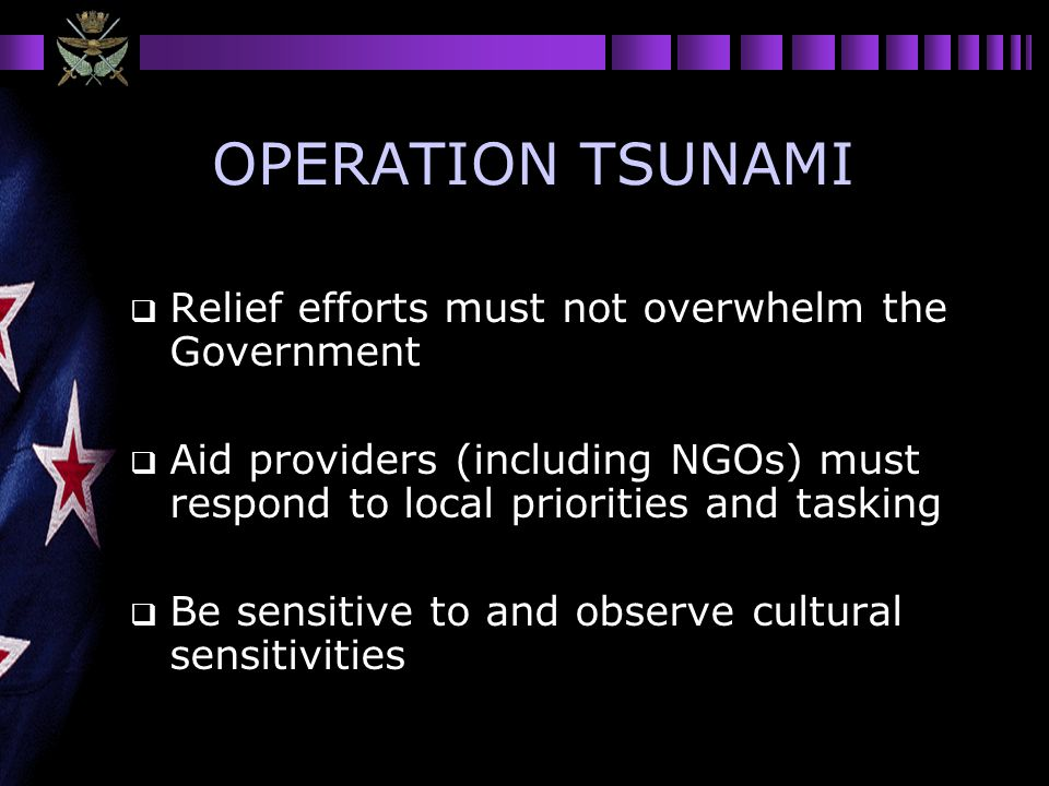 OPERATION TSUNAMI Relief efforts must not overwhelm the Government