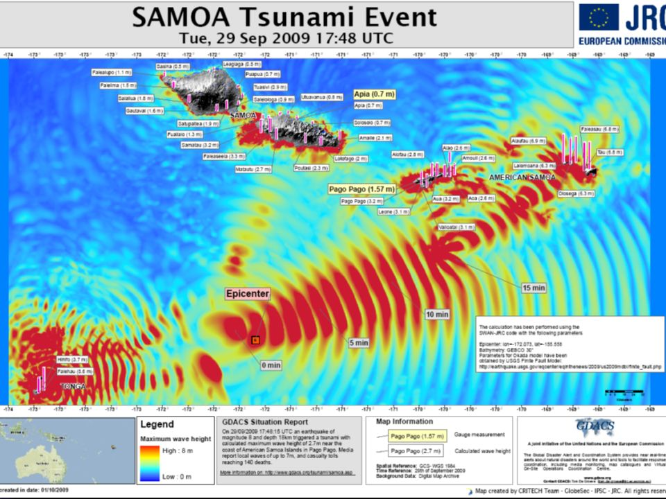 AT 0648 HOURS ON TUESDAY 29 SEP SAMOA TIME ( WHICH IS 0648 HOURS WEDNESDAY 30 SEP NZDT) AN 8.3 MAGNITUDE EARTHQUAKE APPROX 180KM OFF THE SOUTHERN COAST OF SAMOA GENERATED A TSUNAMI CAUSING WIDESPREAD DAMAGE AND DEATH ALONG THE SOUTH COAST OF WESTERN SAMOA, AMERICAN SAMOA AND THE NORTHERN TONGAN ISLAND OF NIUATOPUTAPU.