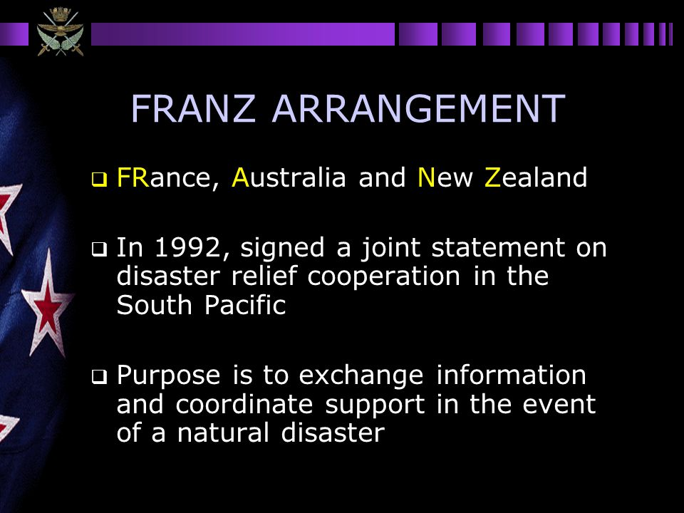 FRANZ ARRANGEMENT FRance, Australia and New Zealand