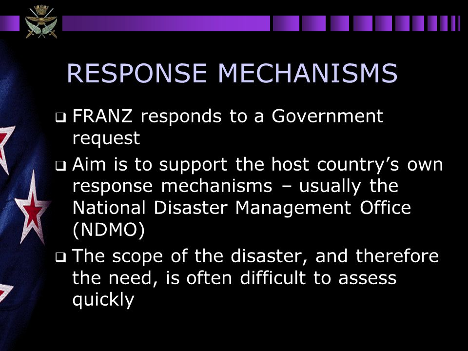 RESPONSE MECHANISMS FRANZ responds to a Government request