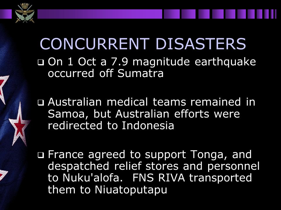 CONCURRENT DISASTERS On 1 Oct a 7.9 magnitude earthquake occurred off Sumatra.