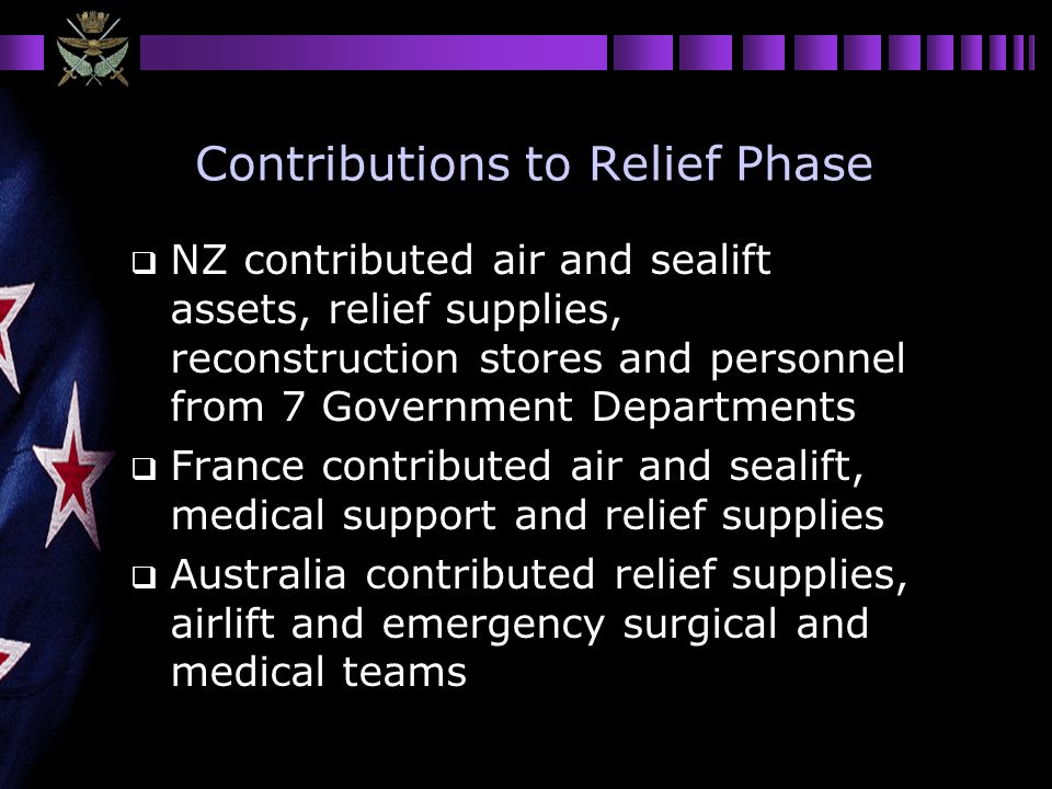 Contributions to Relief Phase