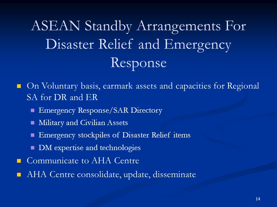 ASEAN Standby Arrangements For Disaster Relief and Emergency Response