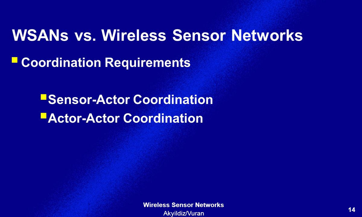 WSANs vs. Wireless Sensor Networks