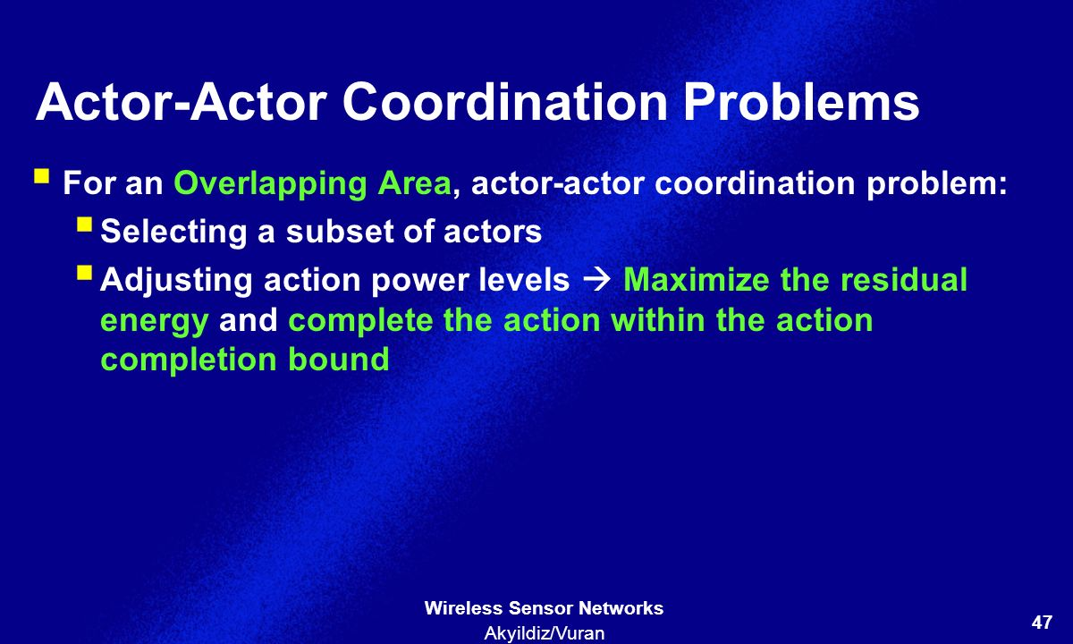 Actor-Actor Coordination Problems