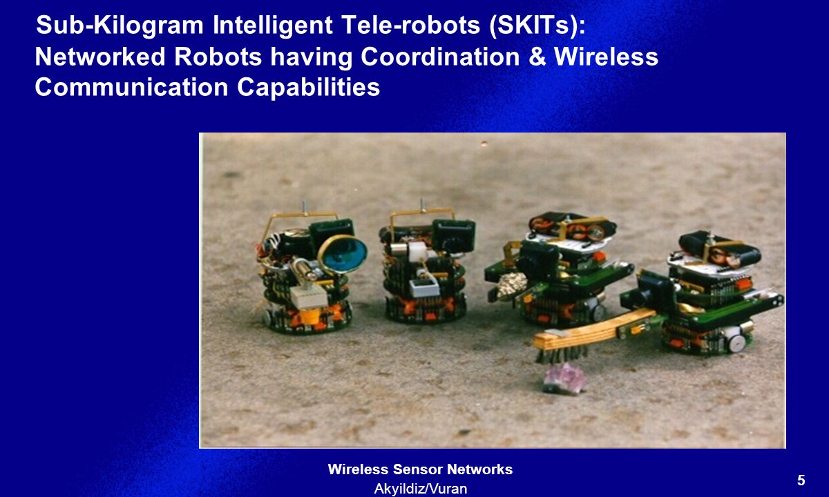 Sub-Kilogram Intelligent Tele-robots (SKITs): Networked Robots having Coordination & Wireless Communication Capabilities