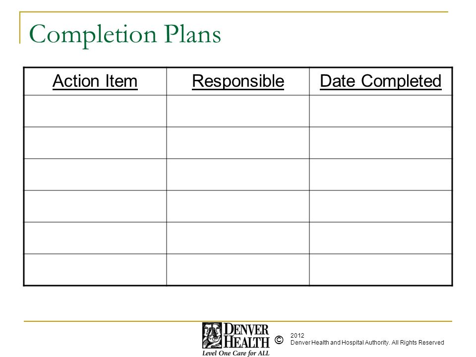 Completion Plans Action Item Responsible Date Completed Action Item