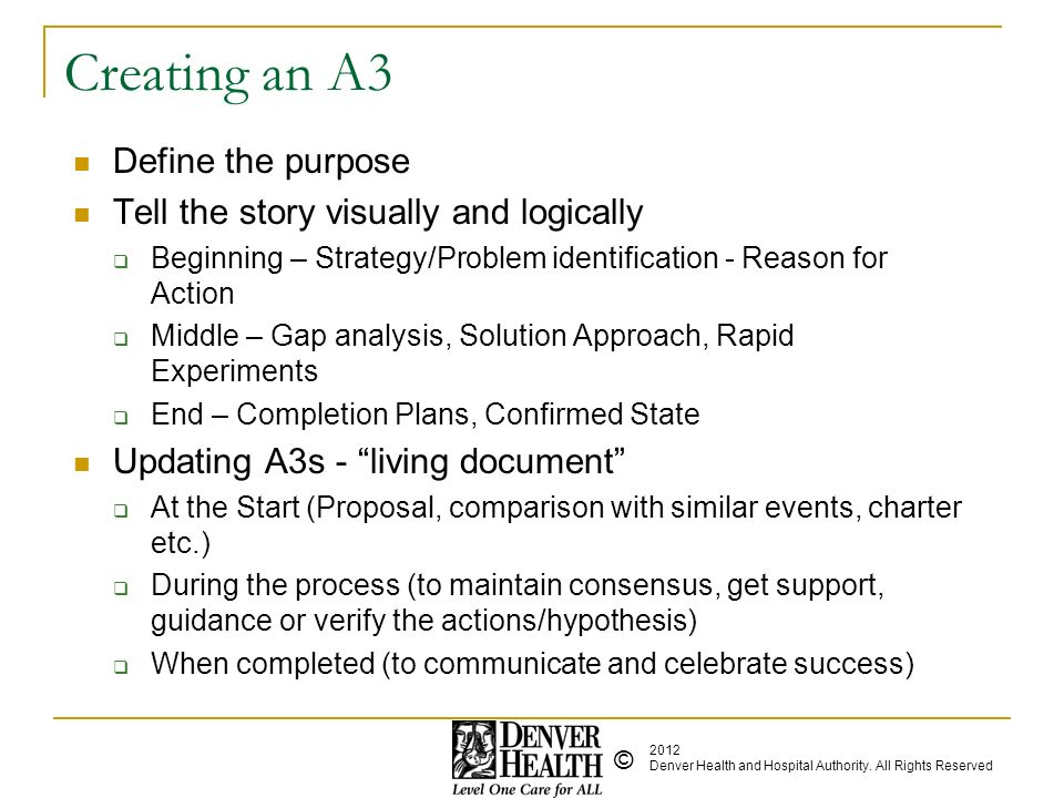 Creating an A3 Define the purpose