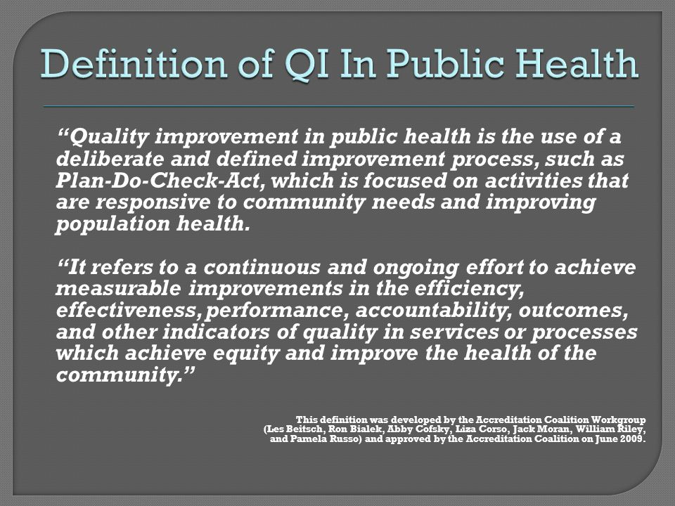 Definition of QI In Public Health