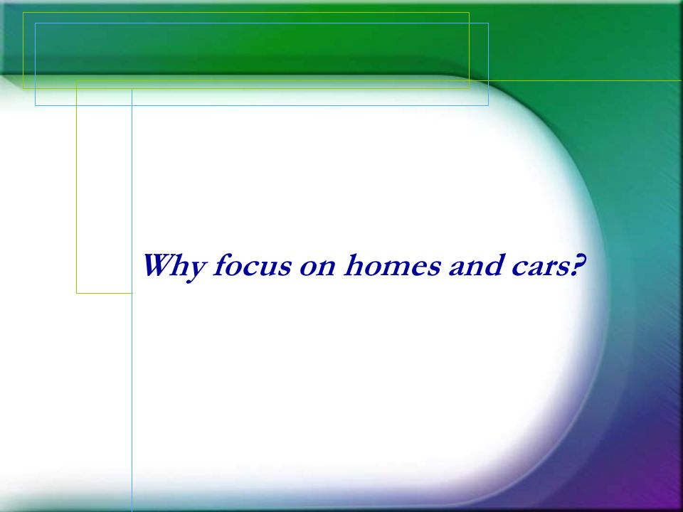 Why focus on homes and cars