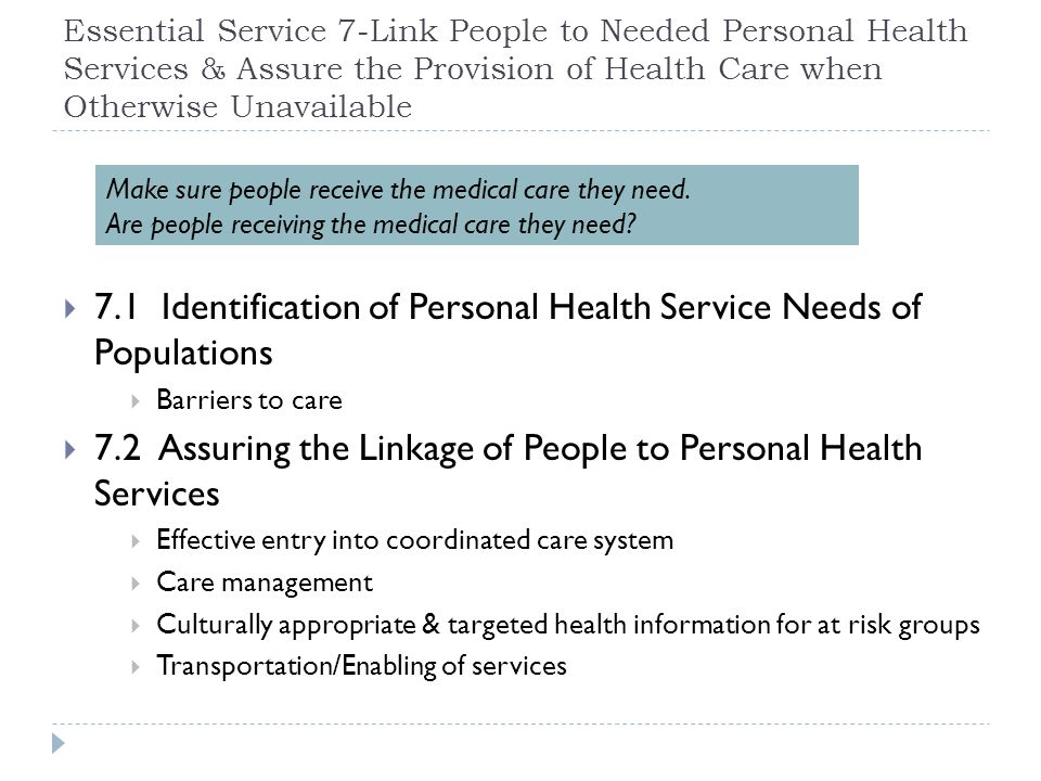 7.1 Identification of Personal Health Service Needs of Populations