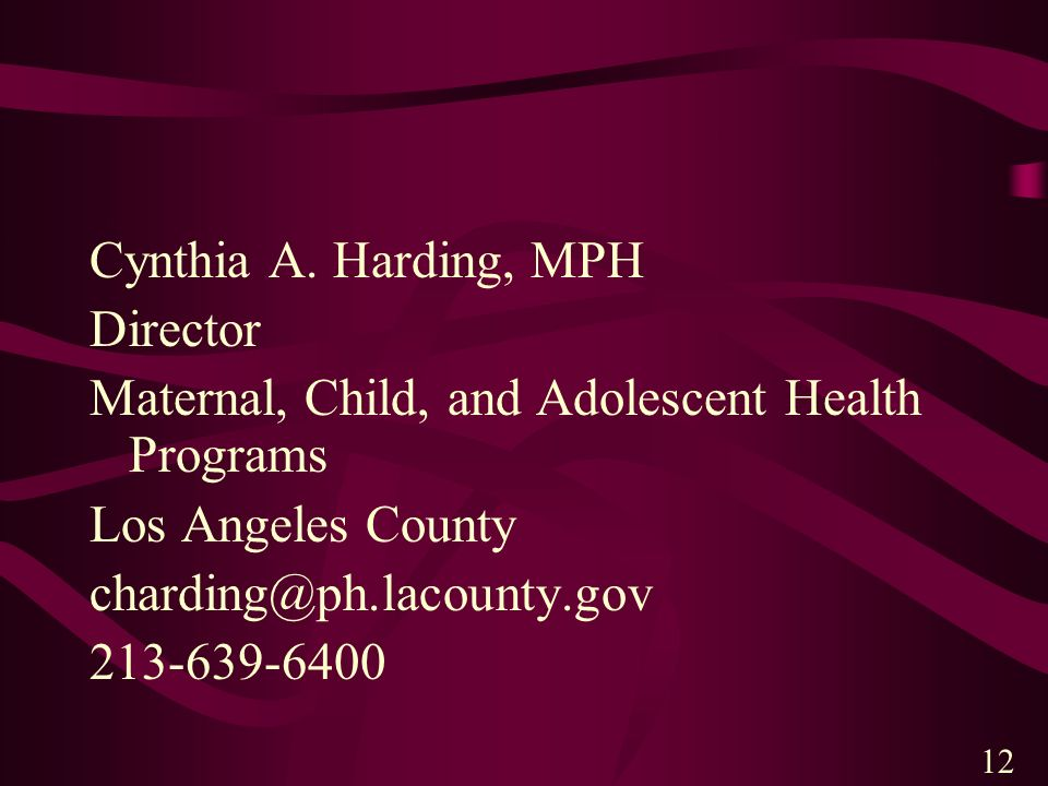 Maternal, Child, and Adolescent Health Programs Los Angeles County