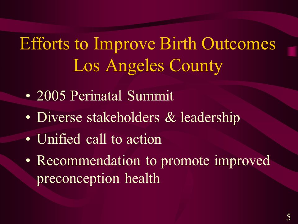 Efforts to Improve Birth Outcomes Los Angeles County