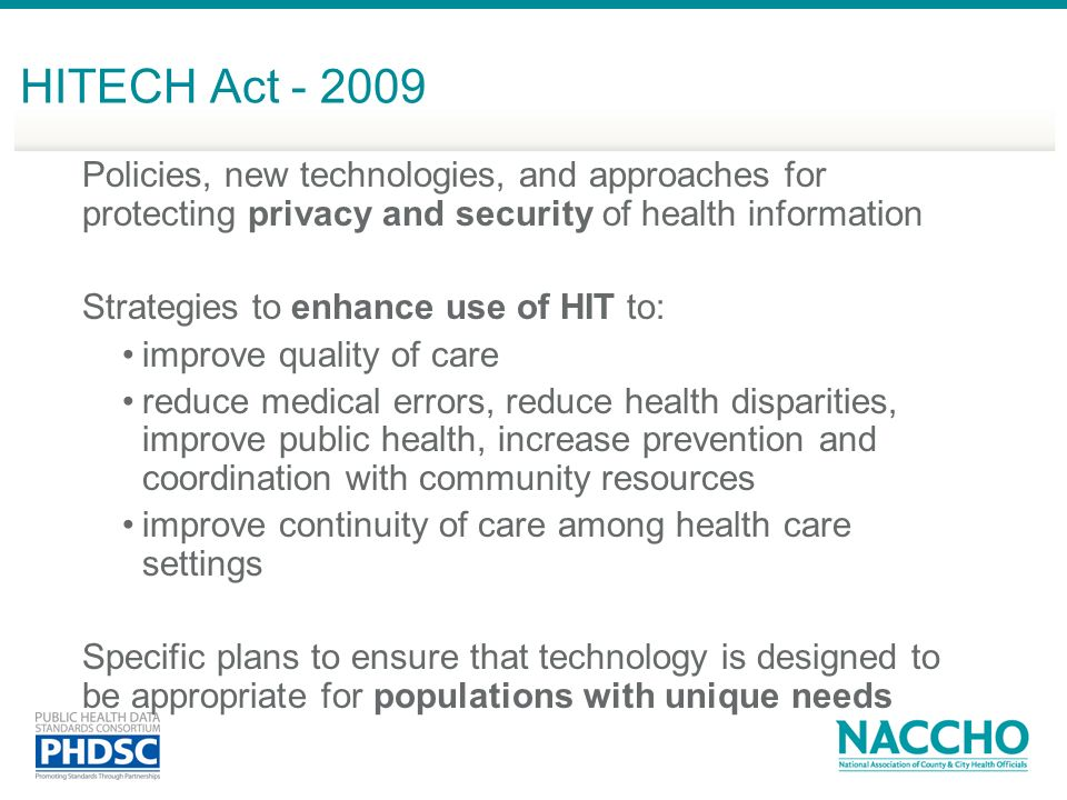 HITECH Act - 2009 Policies, new technologies, and approaches for protecting privacy and security of health information.