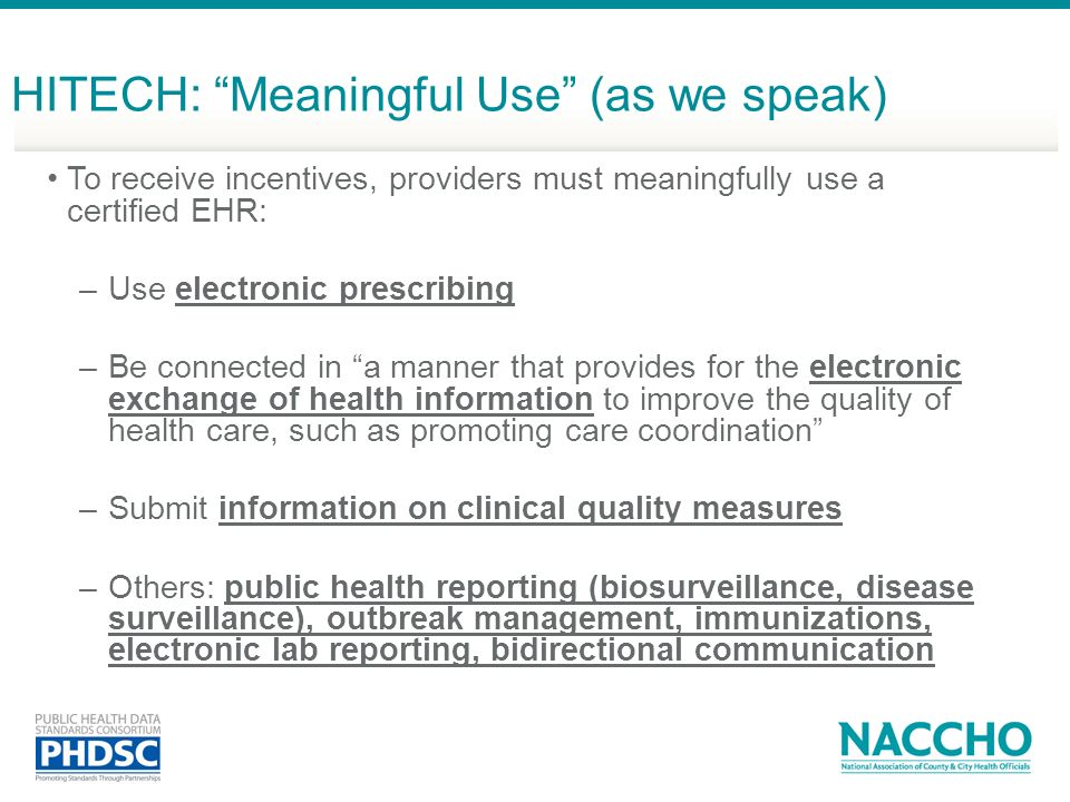 HITECH: Meaningful Use (as we speak)