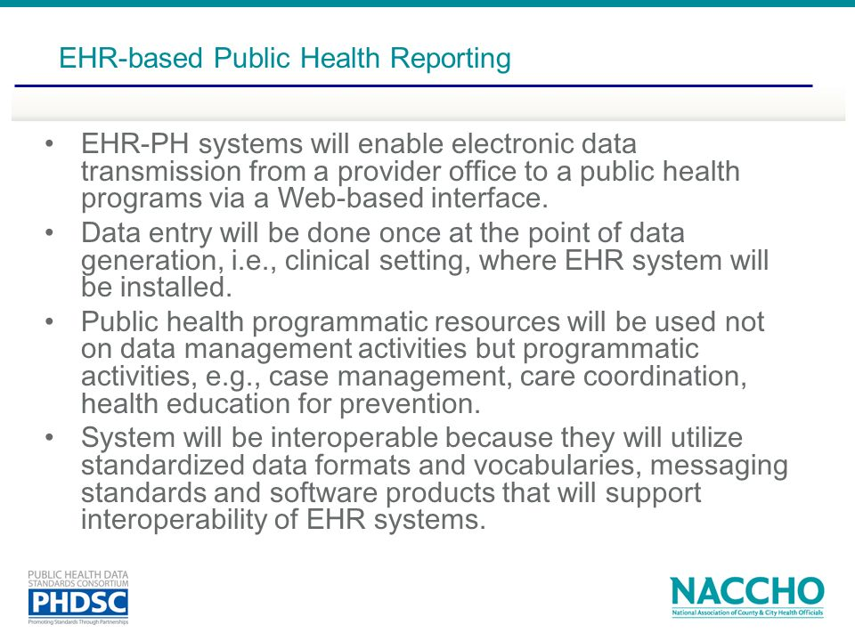 EHR-based Public Health Reporting