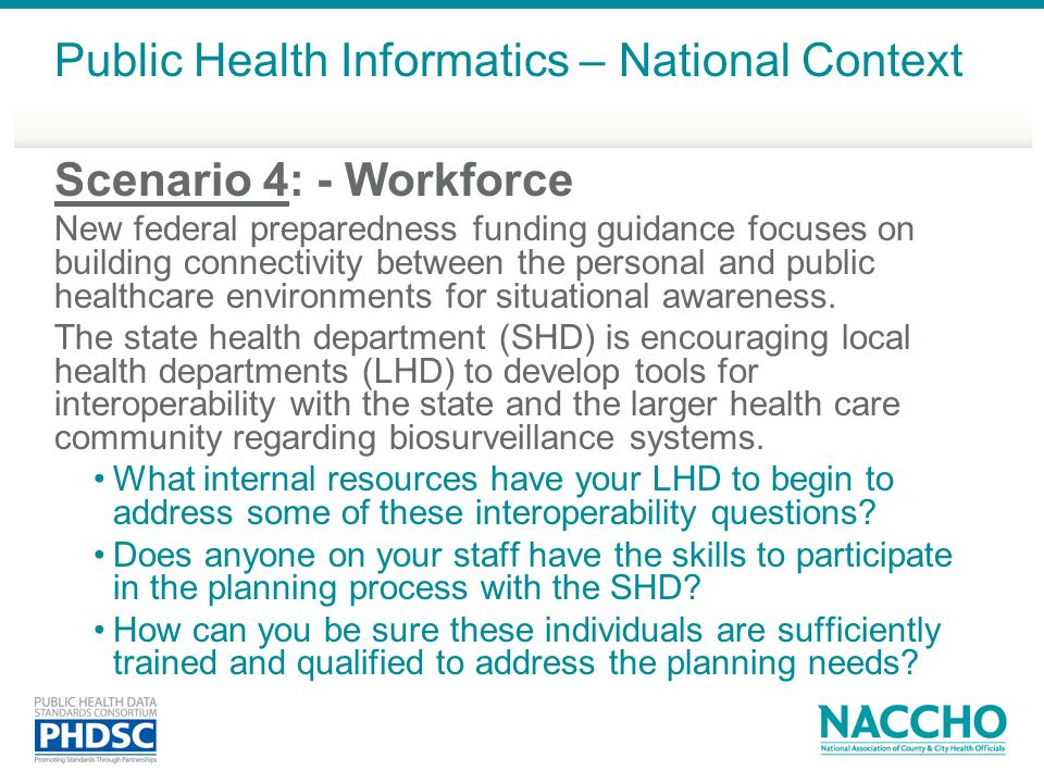 Public Health Informatics – National Context