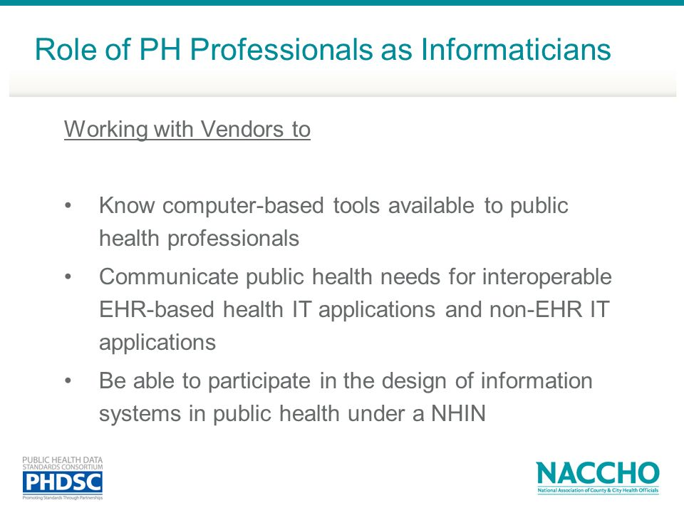 Role of PH Professionals as Informaticians