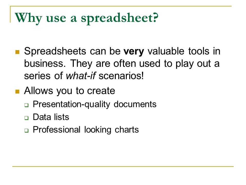 spreadsheet a spreadsheet is the computer equivalent of a paper