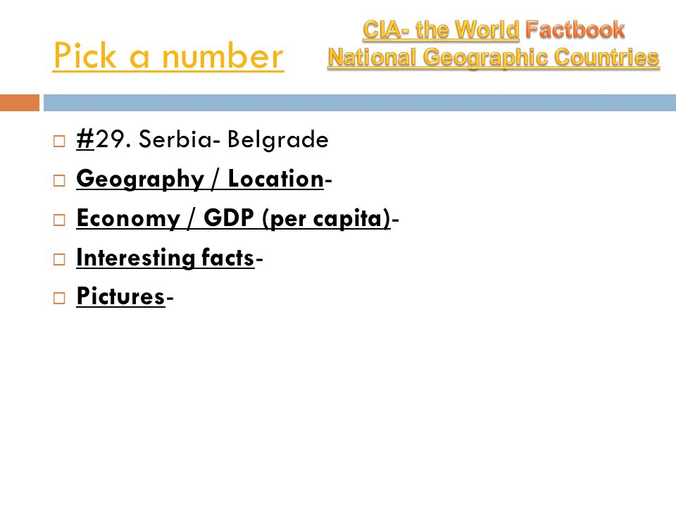 CIA- the World Factbook National Geographic Countries