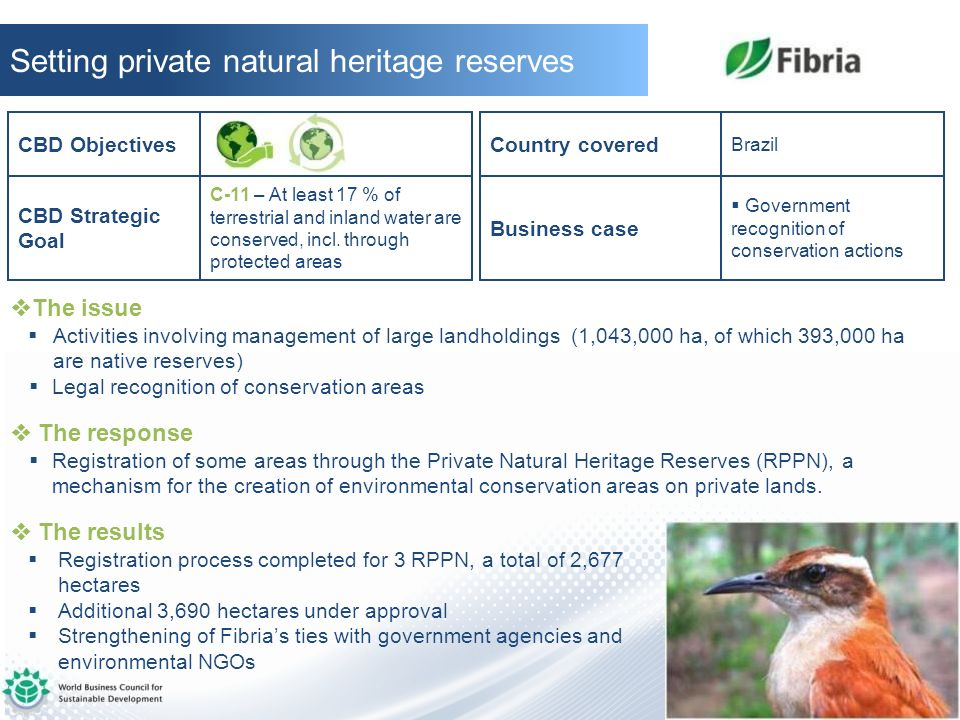 Setting private natural heritage reserves