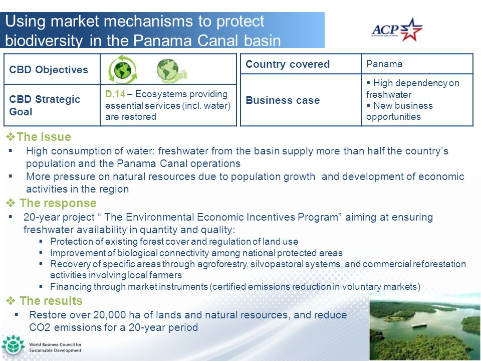 Using market mechanisms to protect biodiversity in the Panama Canal basin